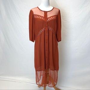 Volcom | terra cotta cut out button up dress M 12